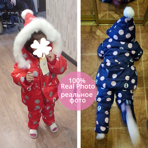 Image 5 - IYeal חורף ילדי בנות בגדים סטי חם סלעית ברווז למטה מעיל מעילים + מכנסיים עמיד למים חליפת שלג ילדי תינוק בגדים
