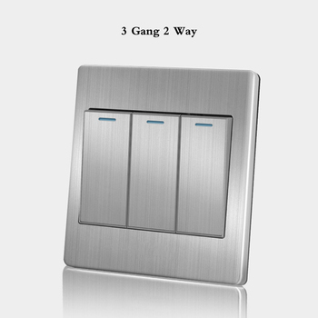 86 Type wall switch panel Five hole socket with switch Brushed Stainless steel 5-hole socket Household 1 2 3 4Gang 1 2Way switch 15