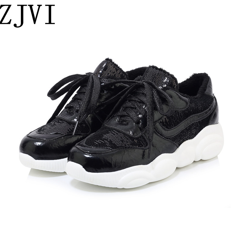 ZJVI 2019 woman fashion casual shoes for women black spring autumn lace up winter ladies flats sneakers platform