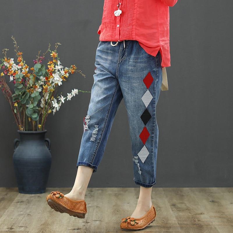 Max LuLu 2020 Fashion Summer Ladies Luxury Embroidery Jeans Womens Vintage Ripped Denim Trousers Loose Holes Elastic Harem Pants