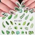 1 шт., переводятся с помощью воды наклейка и Стикеры цветок с лиственным деревом зеленого цвета простой дизайн ногтей DIY слайдер для маникюра...