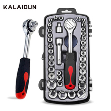 KALAIDUN Kit de clé à douille ajustable à cliquet 40 pièces, clé universelle CR V, Kit doutils manuels à douille pour les réparations de vélo, moto