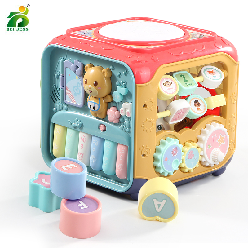 Baby Musical Toys Baby Music Keyboard Box Toddler Activity Development Cube Gear Clock Geometric Blocks Sorting Educational Toys