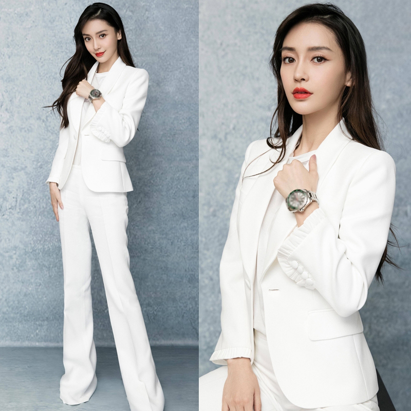 Women Pants Suits Set For Work OL Stylish Office Ladies Formal Business Clothes Blazer Jacket Wide Leg Pants Elegant Pansuits