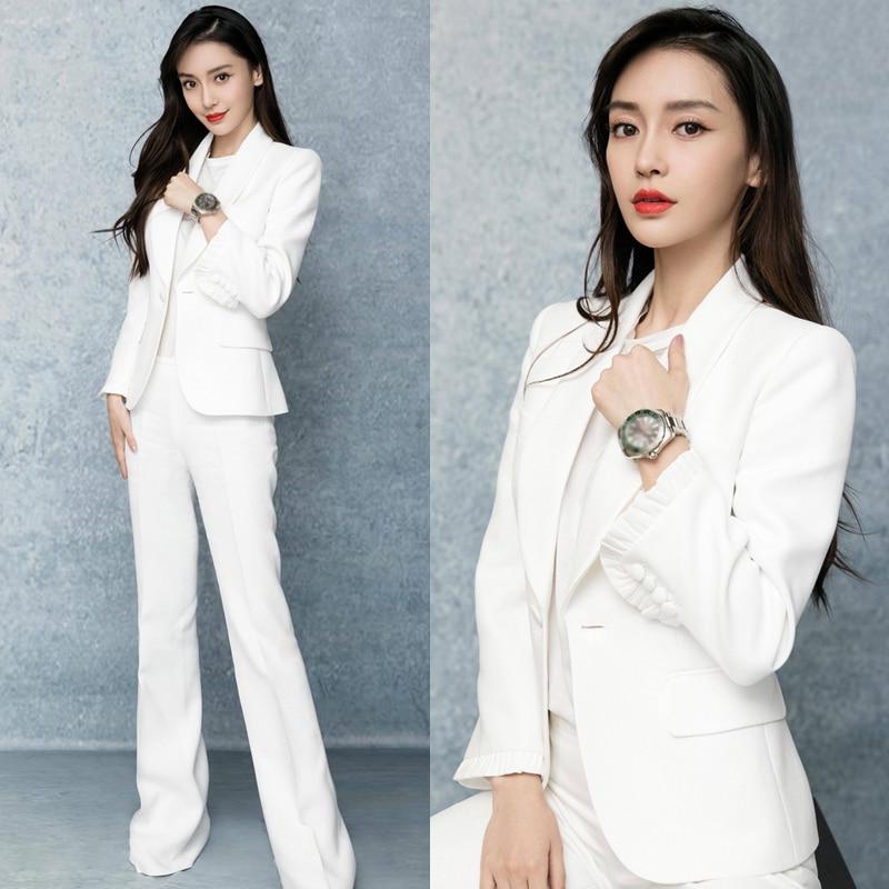 Women Pants Suits Set For Work OL Stylish Office Ladies Formal Business Clothes Blazer Jacket Wide Leg Pants Elegant Pansuits