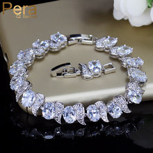 Pera Luxe 925 Sterling Zilver Bridal Wedding Party Sieraden Super Wit Cz Topaz Ovale Ketting Link Armbanden Voor Bruiden B081(China)