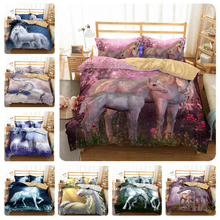 Cartoon Bedding Set 3D Printed Unicorn For Home Duvet Cover Queen King With Pillowcase Linen Bedclothes Textile