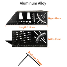 45 90 Degree Portable Marking Gauge Accurate Metric Aluminum Alloy Woodworking Multifunctional Accessories Angle Ruler Measuring steel 90 degree angle metric 50cm scale ruler sling angle silver
