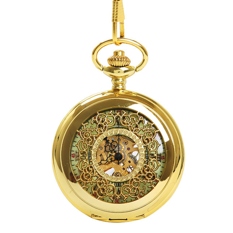 Mechanical Pocket Watch Gold Thick Chain Dense Flower Hollow Knight Light Pocket Watch Ancient Roman Text Pocket Watch