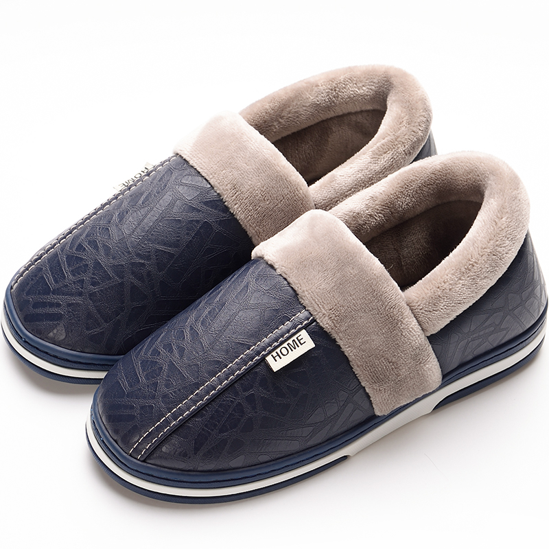 Winter Slippers Men Plus Size 45-48 Cozy House Slippers For Men Warm Short Plush Indoor Shoes Men PU Leather Slipper Male
