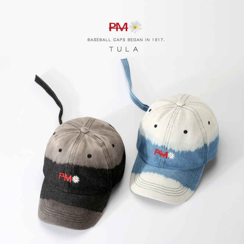 New High End Washed Cotton Gradient Daisy Peaked Cap All Match Male Baseball Cap Baseball Hat