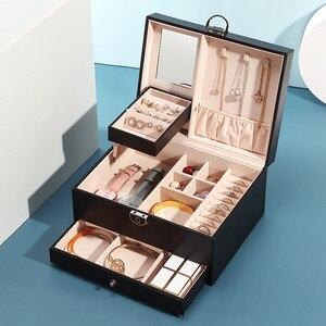 Image 4 - Grande boîte à bijoux en cuir PU multicouche, casier organisateur pour colliers, bagues, boucles doreilles, boîtes de rangement pour bijoux, 2020