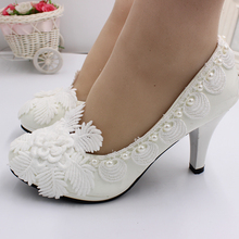 BaoYaFang White Pearl Wedding Shoes high heels lace flower handmade wedding shoes bridal shoes wedding shoes white diamond crystal pearl high heel waterproof table adult shoes wedding shoes bridal shoes