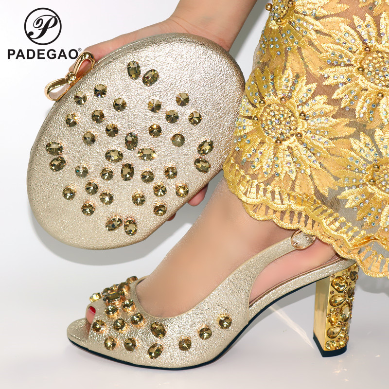 Latest Gold Shoes and Bags Set Italian Sets 2020 African Shoes and Matching Bags Italian Women Rhinestone Wedding Shoes