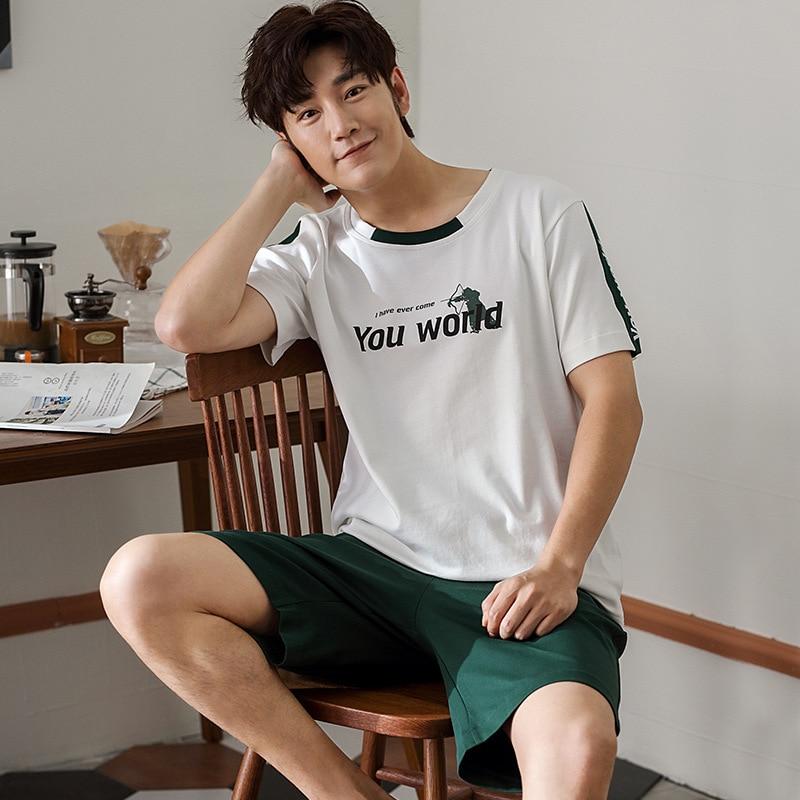 2020 Pajamas MEN'S Short Sleeve Pure Cotton Summer Men Pure Cotton Large Size Casual Comfortable Pajamas Homewear Set