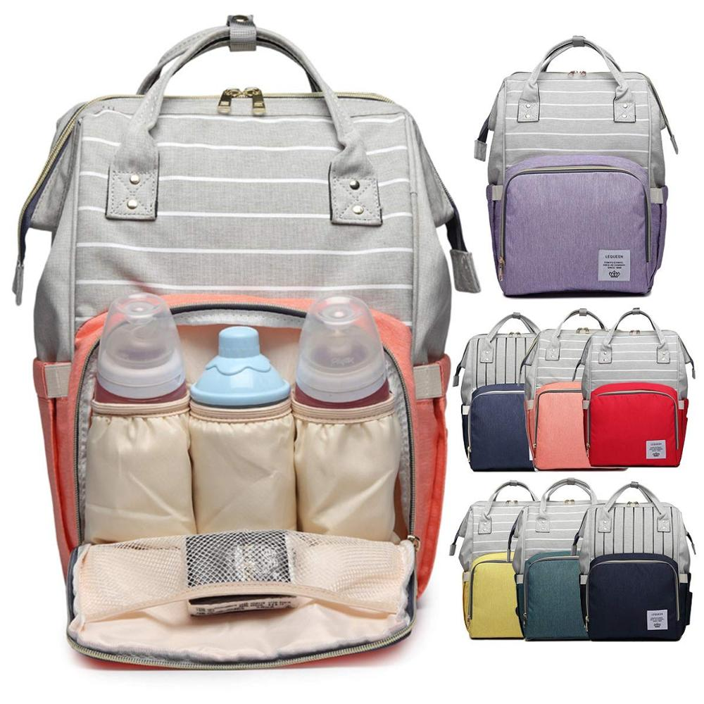 Diaper Bag Mummy Maternity Nappy Bag Large Capacity Grey Stripe Travel Lequeen Baby Changing Nappy Backpack For Moms Mommy Bag