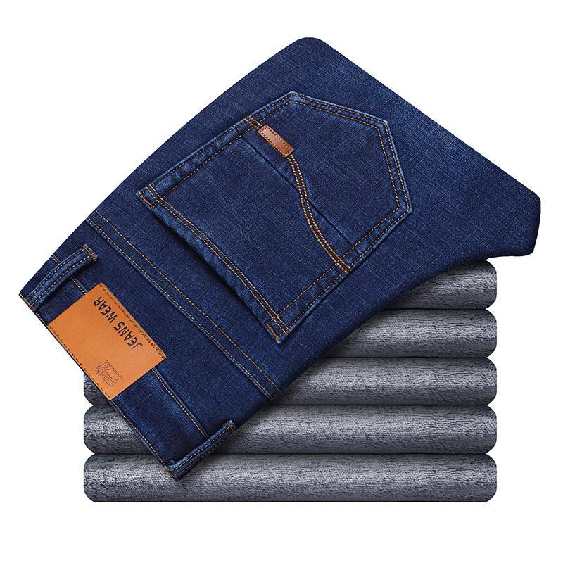 Зимние теплые фланелевые Стрейчевые джинсы для мужчин s, зимние качественные мужские флисовые штаны от известного бренда, прямые флокированные брюки, мужские джинсы - Цвет: Blue 1823