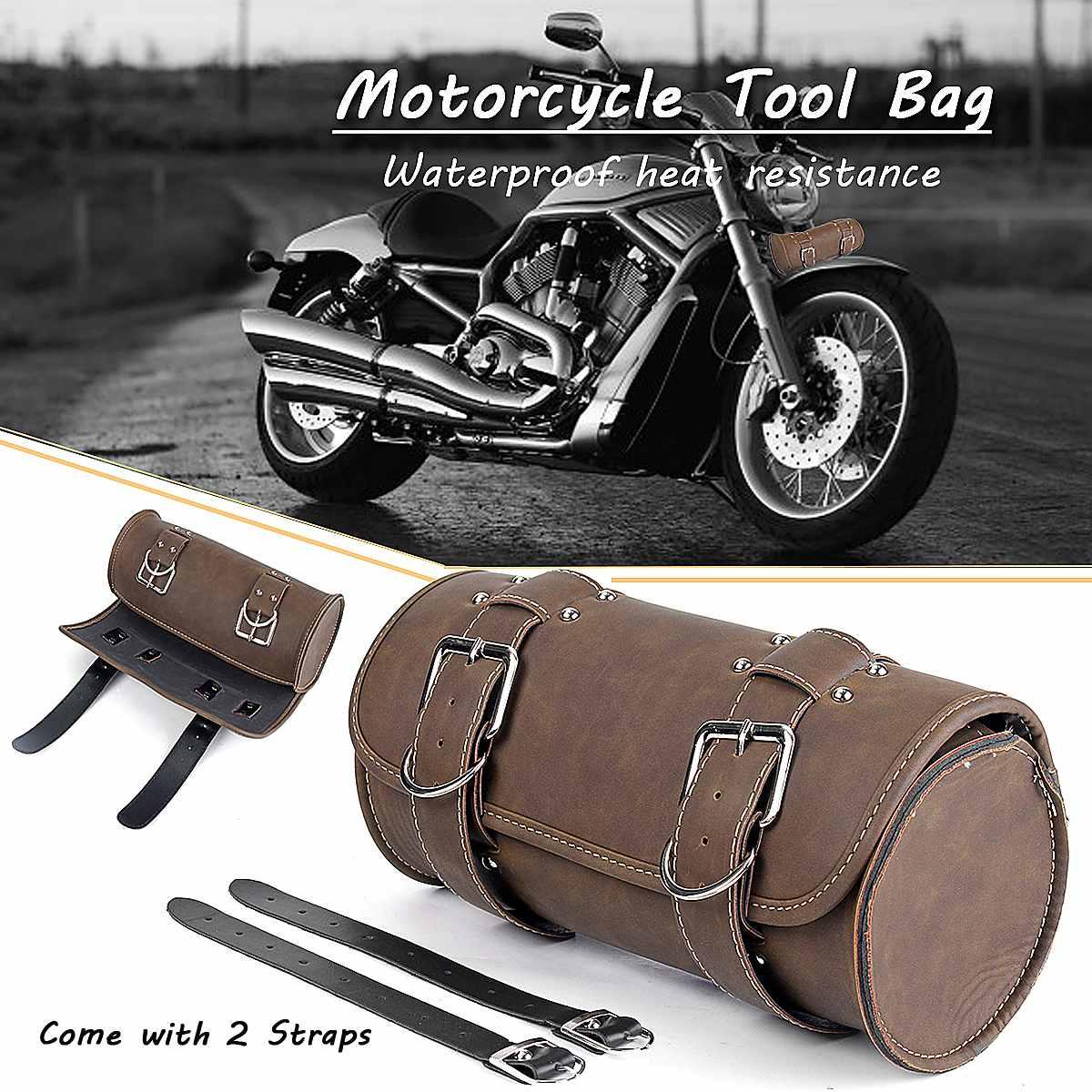 Universal Motorcycle PU Leather Saddlebag Tool Storage Bag Front Fork Roll Saddle Luggage Bags For Suzuki / Honda / BMW