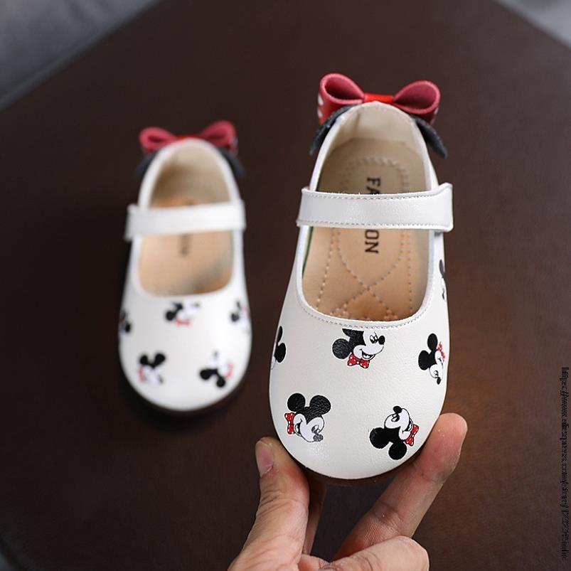 Туфли кожаные для девочек с бантом, Принцесса Диснея Микки Мауса, на плоской подошве, туфли бабочки, обувь для начинающих ходить детей|Кроссовки| | АлиЭкспресс