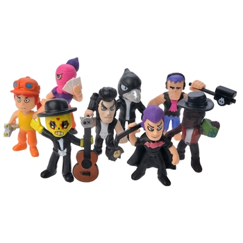 Hot Sale Brawl Stars game Action Figure Toys Hero Poco Shelly Nita Colt Jessie Brock Collectiable Block Model Toy For kids Gifts 8 pcs set brawl stars shelly bull jessie brock colt nita crow keychain key chain pvc action figure toy doll christmas gifts