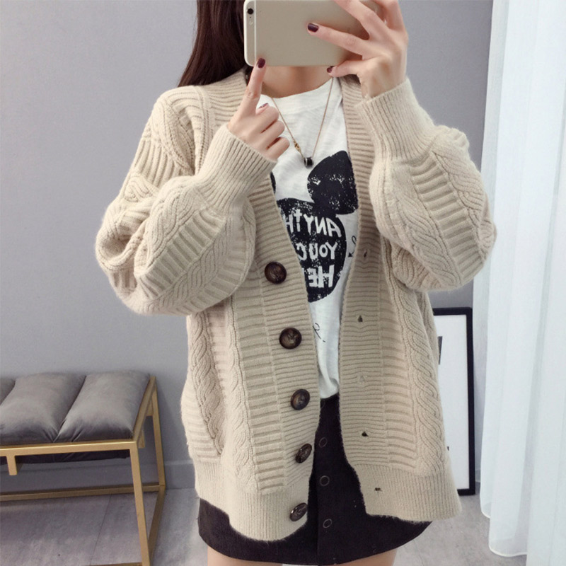 Women's Sweater Autumn Knitted Vintage Cardigan V-neck Korean College Cardigans Sweaters 2019 Winter Cute Outwear Khaki Pink