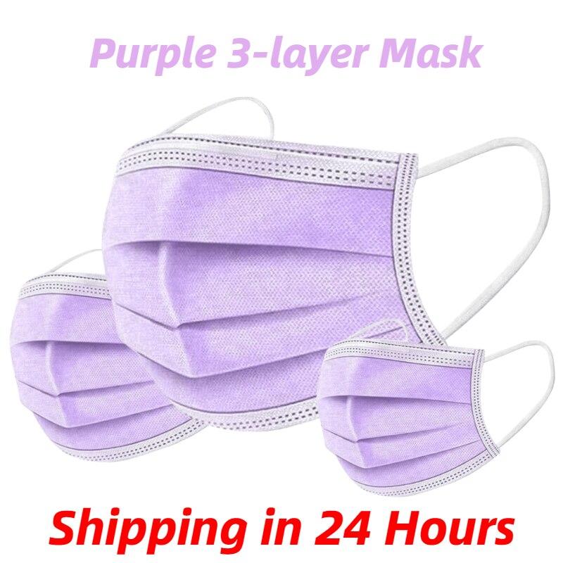 Máscara respirável descartável não tecida roxa da máscara protetora de 3 camadas dos pces 10/50/100/200 com a máscara adulta respirável elástica da boca do earloop