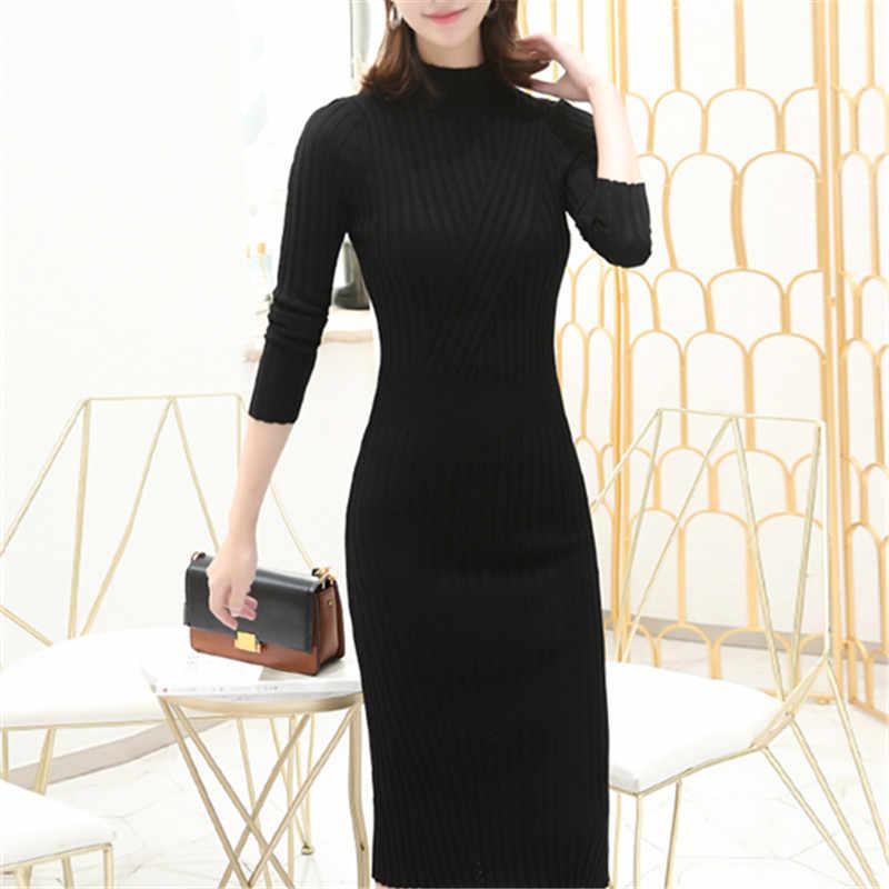 Полосатое элегантное тонкое теплое однотонное платье с круглым вырезом и длинным рукавом Vestido, зимнее трикотажное платье, Осеннее женское модное мягкое женское платье 2019 года