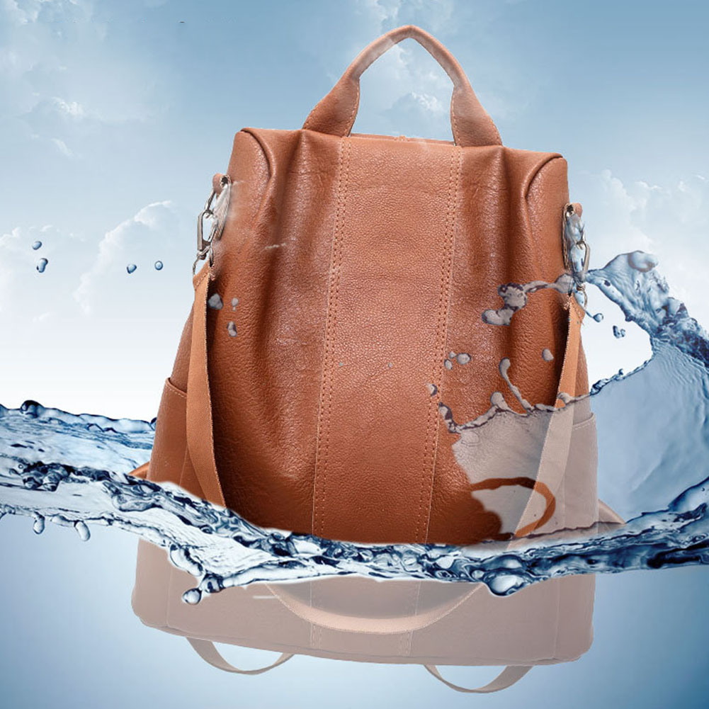 Zipper Tote Women Backpack Anti Theft PU Leather Fashion Stylish Lady Schoolbag Travel Soft Camping Casual