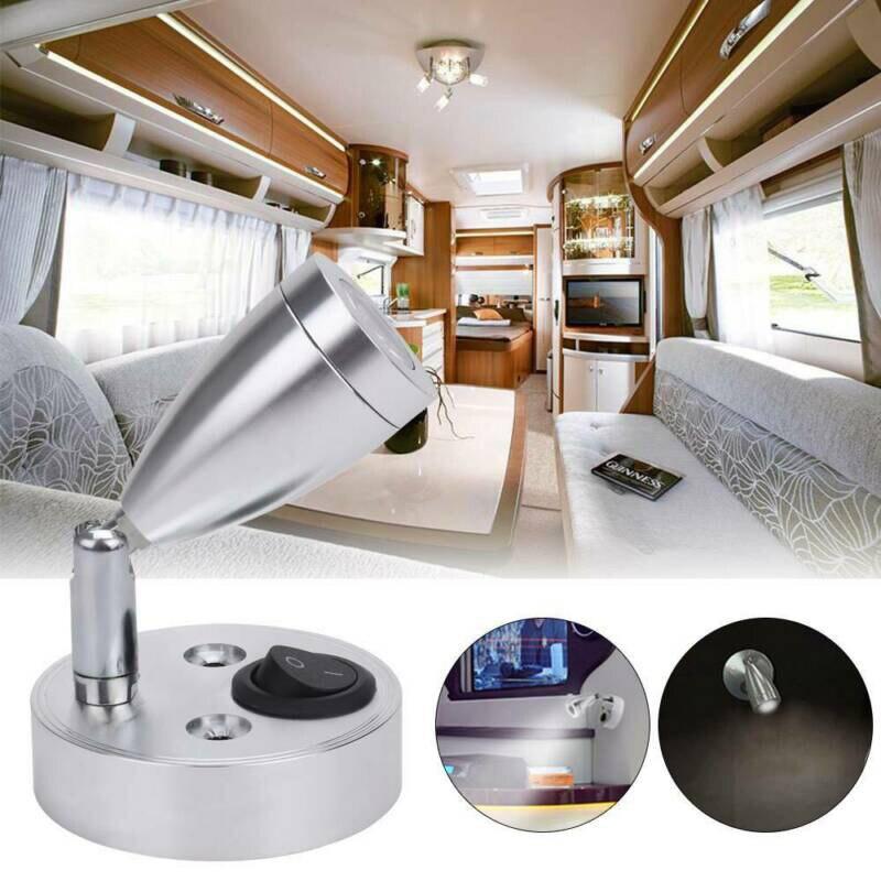DC 12V 1W LED Wall Spot Light Switch Bedside Reading Lamp  Boat Motorhome