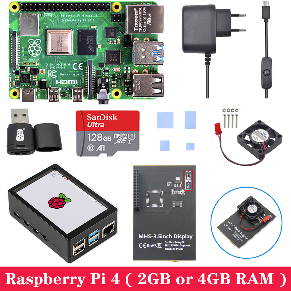 <font><b>Raspberry</b></font> <font><b>Pi</b></font> <font><b>4</b></font> Board with MHS 3.5inch Touchscreen ABS Case Power Supply SD Card Cooling Fan Heat Sink for <font><b>Raspberry</b></font> <font><b>Pi</b></font> <font><b>4</b></font> <font><b>Model</b></font> <font><b>B</b></font> image