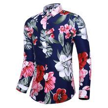 Casual Dress Men Shirts Turn-down collar Long sleeve Floral Casual Shirt for Men's clothing Blouse Man Black Navy stylish cap sleeve turn down collar floral dress for girls
