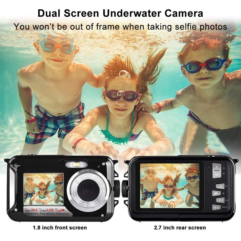 Wasserdichte Kamera HD 1080P für Schnorcheln 24,0 MP Unterwasser Kamera 2,7 Zoll TFT-LCD Dual Screen Wasserdichte Digital Kamera (EU P
