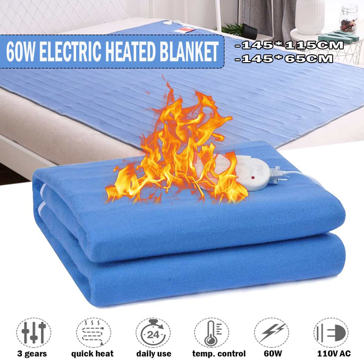 Winter Electric Blanket Heater Double Single Body Warmer Heated Blanket Thermostat Electric Heating Blanket Warm Pad