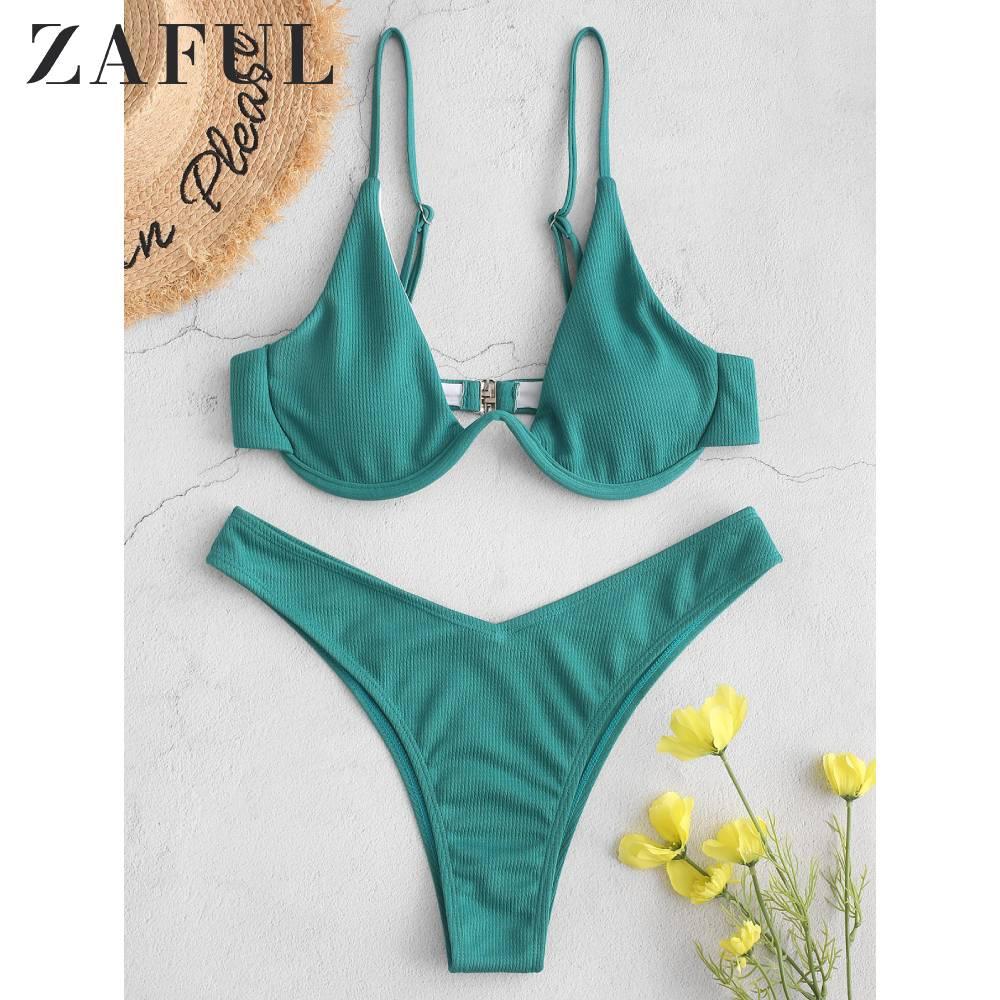 ZAFUL Ribbed High Leg Underwire Bikini Swimsuit 2020 Padded Underwire Spaghetti Straps Solid Holiday Swimsuit Beach Bathing Suit
