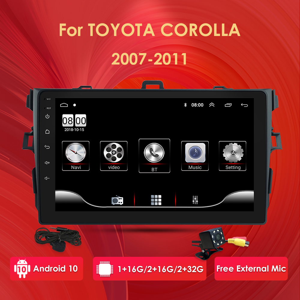 2 Din Android 10 Car Stereo Radio GPS for <font><b>Toyota</b></font> <font><b>Corolla</b></font> <font><b>E140/150</b></font> 2007 2008 2009 2010 2011 SWC Navi Player USB 4G DVR Multimedia image