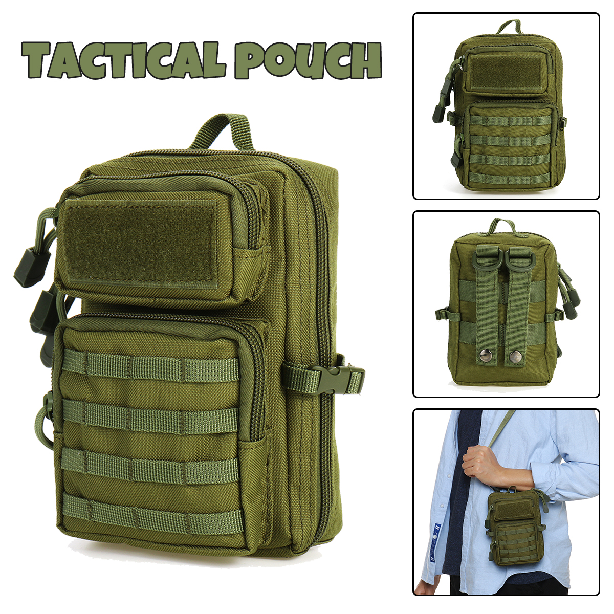 Universal Tactical Pouch Bag Holster Military Molle Hip Waist Belt Bag Zipper Wallet Pouch Purse Phone Case Camping Hiking Bags