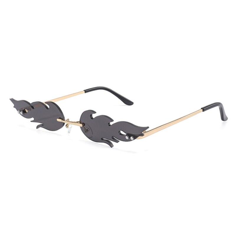 Fashion Fire Flame Sunglasses Women Men Rimless Wave Sun Glasses Eyewear UV400 Luxury Trending Narrow Vintage Sunglasses