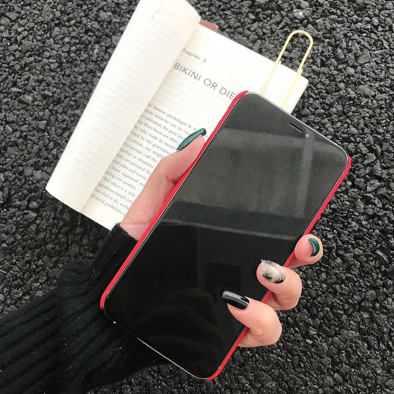 Ultra ince ince telefon kılıfı için Apple iphone 11 Pro Max 6 S 7 8 artı XR X XS Max mat sert arka kapak mektup düz kabuk korumak