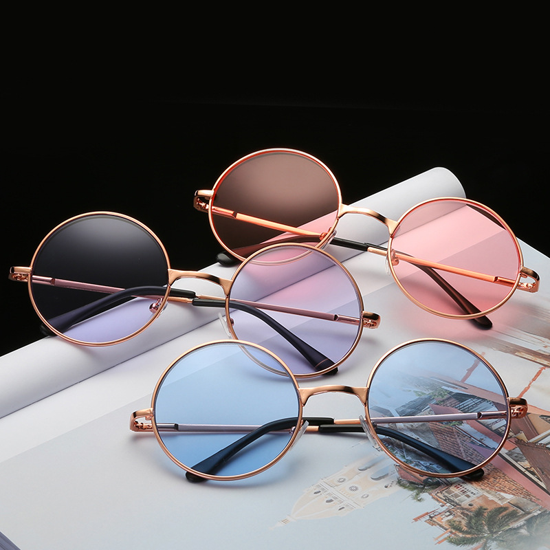 Fashion Multi-Color Retro Round Sunglasses Women Sun Glasses Lens Alloy Sunglasses Female Eyewear Driver Goggles Car Accessories