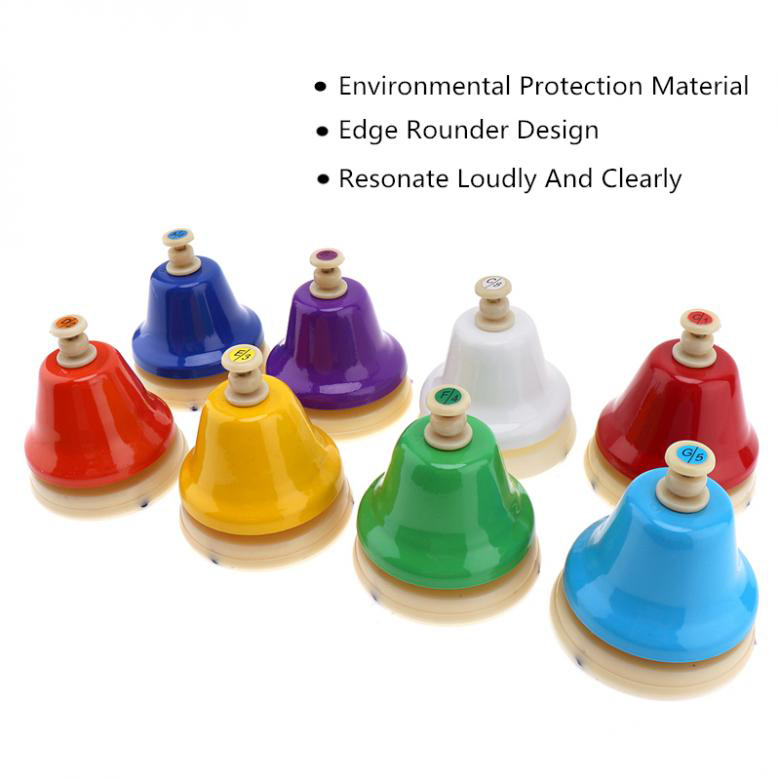 IRIN 8Pcs/Set 8 Note Diatonic Metal Hand Bells Set Percussion Instrument for Kid Children Musical Instrument Toy