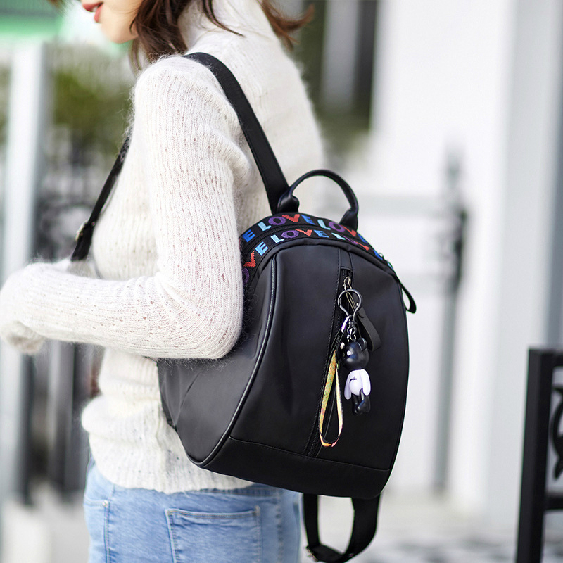 2019 New Simple Fashion Oxford Cloth Backpack Female Wild Color Strip Travel Bag Factory Backpack Cute Backpack Women in Backpacks from Luggage Bags
