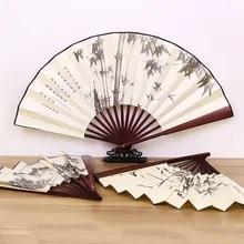 1Pc Retro Folding Silk Fan Chinese Style Decorative Men Pocket Bamboo Handle Hand Fan