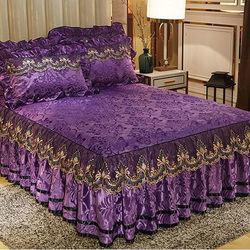 European style skirted bed sheet 3pcs bedspreads velvet lace edging bed mattress cover warm quality  bed cover free shipping