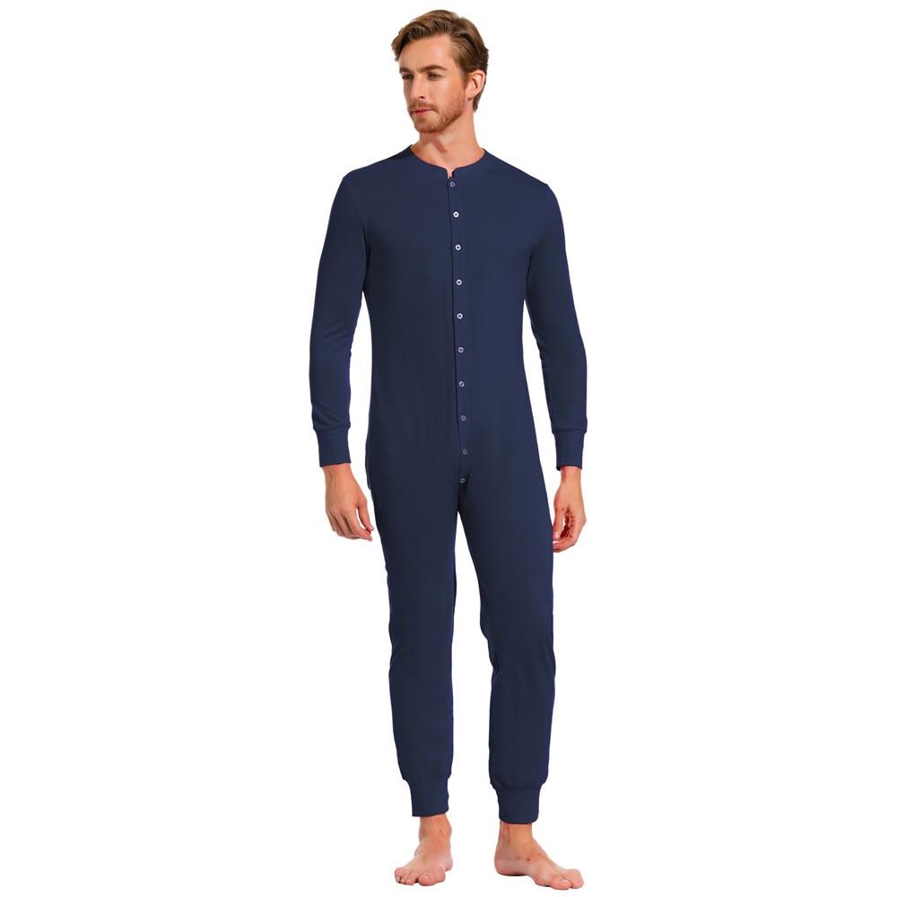 Men Nightwear Fall Winter Solid Color Long Sleeve Crew Neck Cotton Sleepwear Thermal Jumpsuit Romper Male