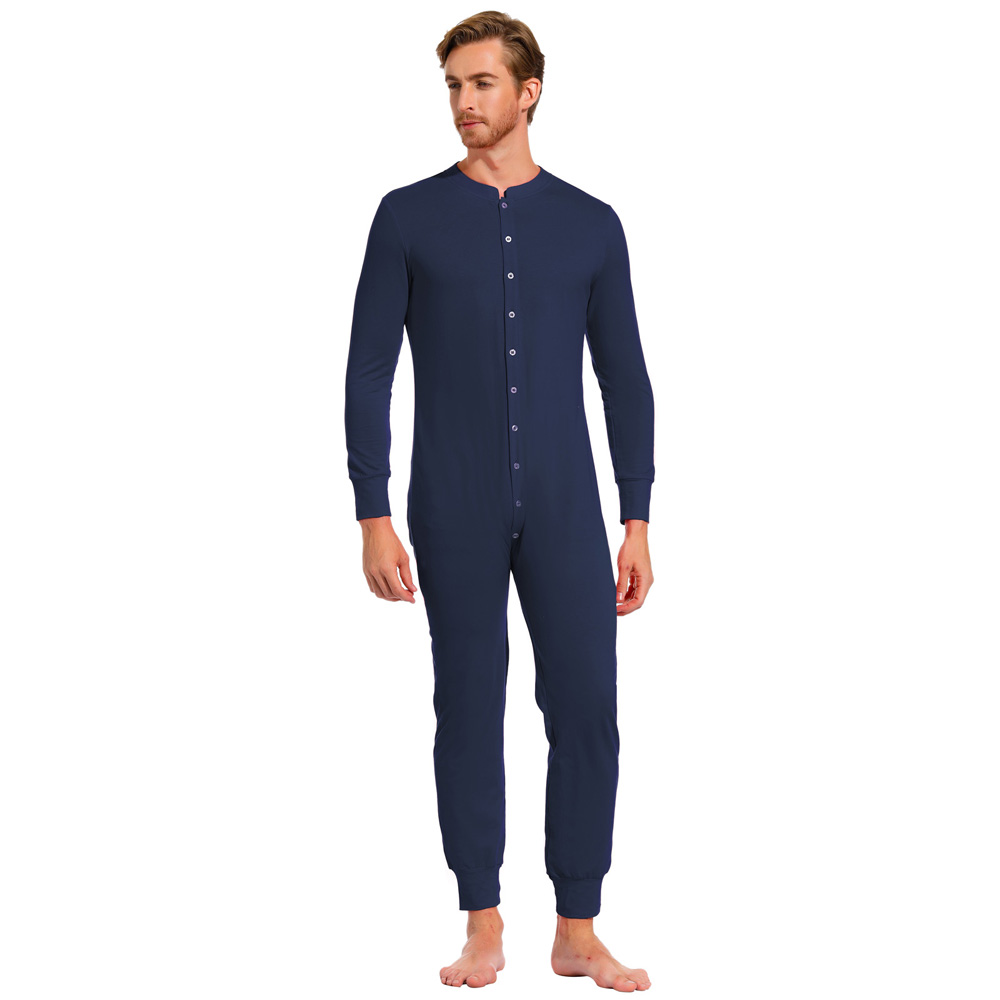 Men Nightwear Fall Winter Solid Color Long Sleeve Crew Neck Cotton Sleepwear Thermal Jumpsuit Romper Male