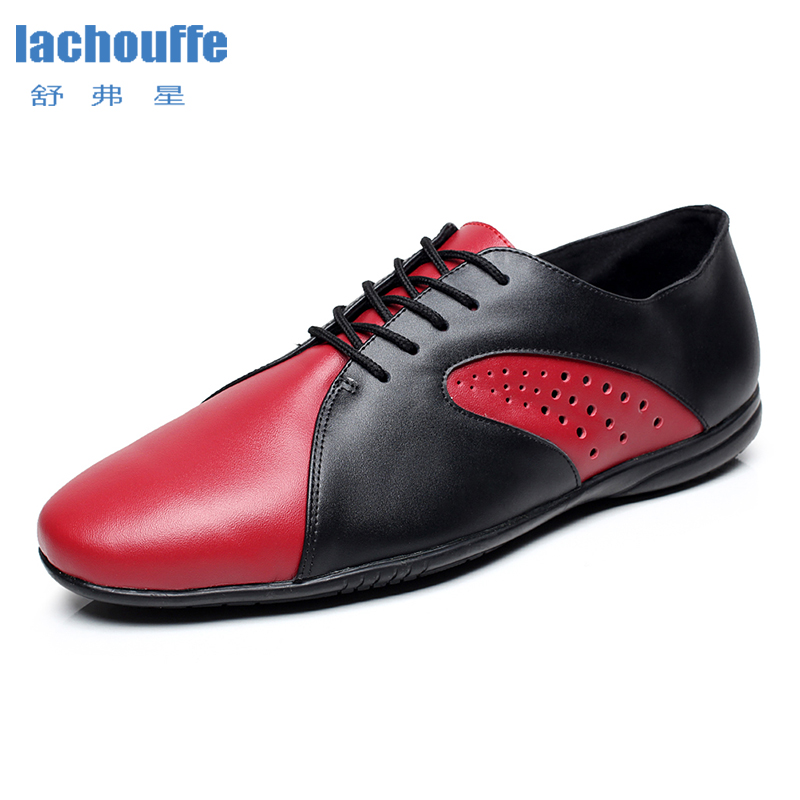 Men Jazz Dance Shoes Red Man Geniune Leather Ballroom Tango Dancing Shoes Mens Adults Rubber Bottom Mordern Dace-shoes For Boys