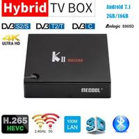 MECOOL K2 KII PRO Android 7.1 Smart TV Box DVB S2 DVB T2 DVB C Amlogic S905D Quad Core 2G16G 4K 2.4G/5GHz Dual Wifi Media Player