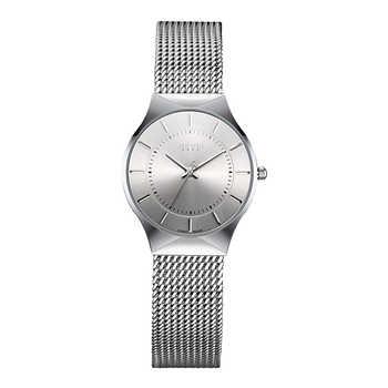 JULIUS JA-577 Frauen Ultra dünne Silber Schwarz Männer Mesh Edelstahl Quarz Analog Beiläufige Uhr Weibliche Armbanduhr Uhr