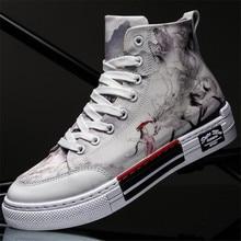 New men shoes high canvas cartoon pattern comfortable breathable flat bottom wear-resistant non-slip design