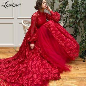Party-Dress Kaftans Evening-Gowns Robe-De-Soiree Arabic Long-Sleeves Formal Princess